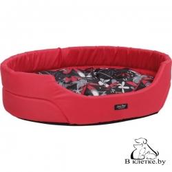 Лежак овальный для кошек и собак Crazy L красный