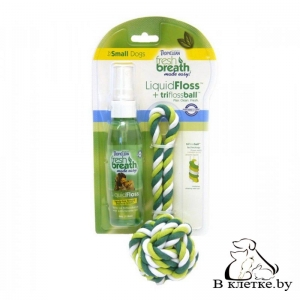 Гигиеническое средство TropiClean FRESH BREATH LIQUIDFLOSS+ROPE BALL