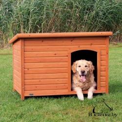 Конура для собаки с плоской крышей Trixie natura L коричневая
