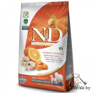 Farmina N&D Grain Free Pumpkin Adult Dog MEDIUM & MAXI Треска и Апельсин