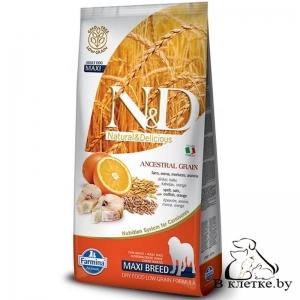 Корм Farmina N&D Low Grain Adult Dog MAXI Треска и Апельсин