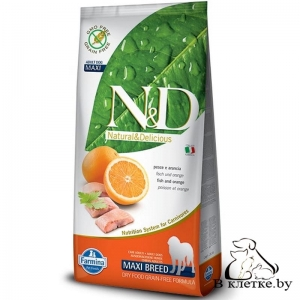 Farmina N&D Grain Free Adult Dog MAXI Треска и Апельсин