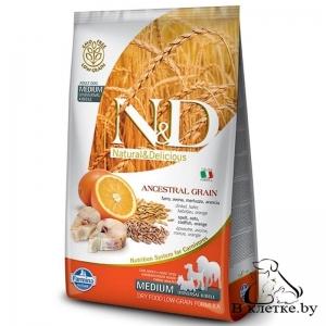 Farmina N&D Low Grain Adult Dog MEDIUM Треска и Апельсин