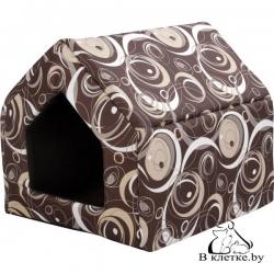 Домик-будка для кошек и собак Crazy L коричневый