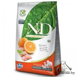 Farmina N&D Grain Free Adult Dog MEDIUM Треска и Апельсин