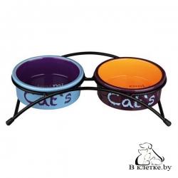 Миска керамическая для кошек Trixie Eat on Feet с подставкой, 2х0,3л