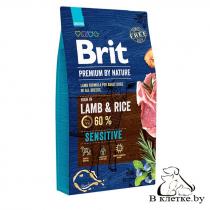 Корм собакам с чувствит. пищеварением Brit Sensitive Lamb & Rice