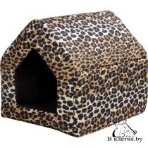 Домик-будка для кошек и собак Crazy L леопардовый