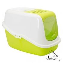 Туалет-домик Savic Nestor для кошек белый/салатовый