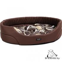 Лежак овальный для кошек и собак Crazy L коричневый